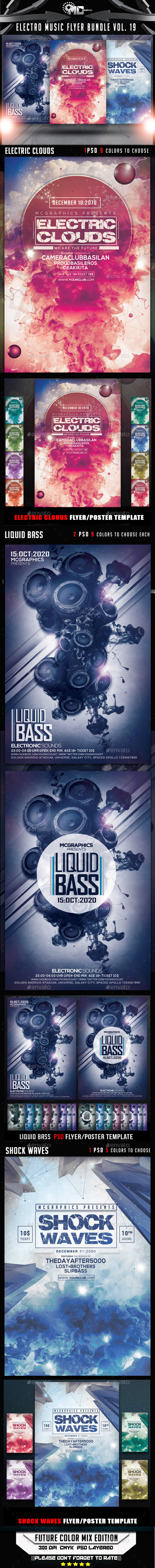 GraphicRiver Electro Music Flyer Bundle Vol.19 9181729