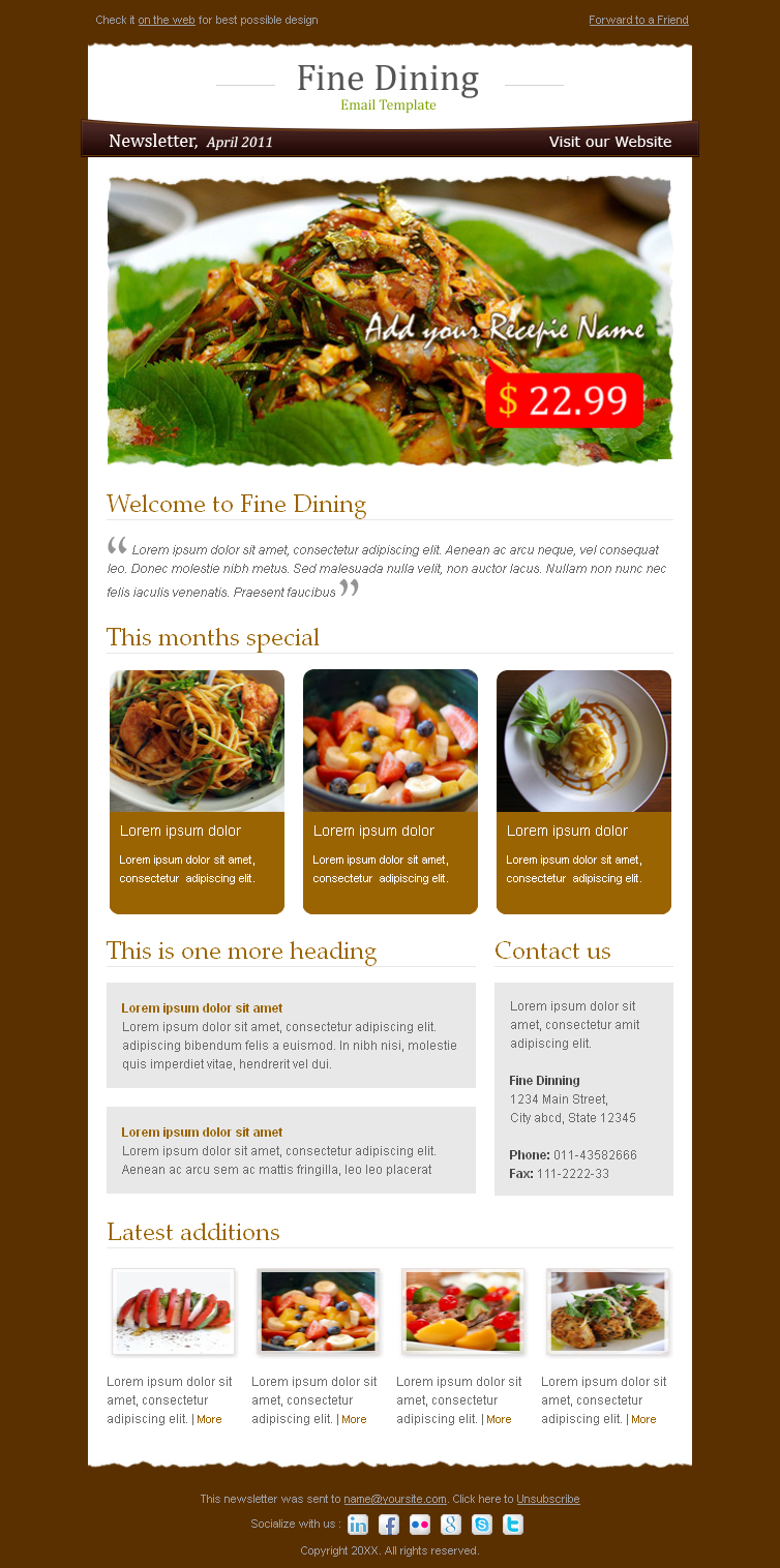 Fine Dining - Newsletter Template