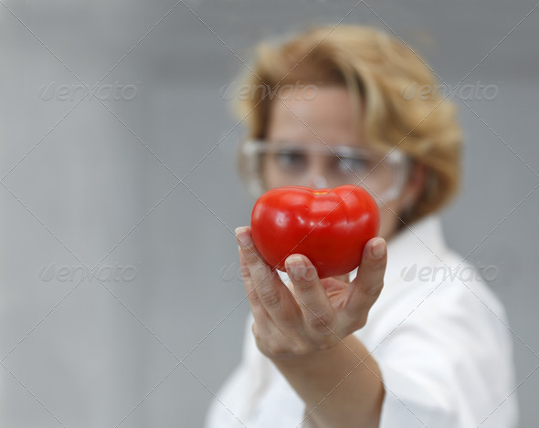 Researcher Giving a Tomatoe  - Stock Photo - Images