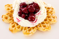 Cream and sour cherries on fresh baked waffle - PhotoDune Item for Sale