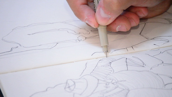 Pencil of Sketcher Paint in a Book