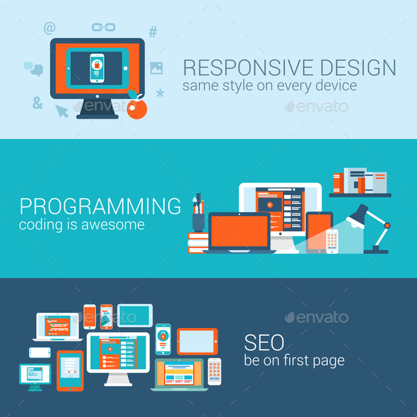 GraphicRiver Web Design Programming SEO Concept Flat Template 9182804