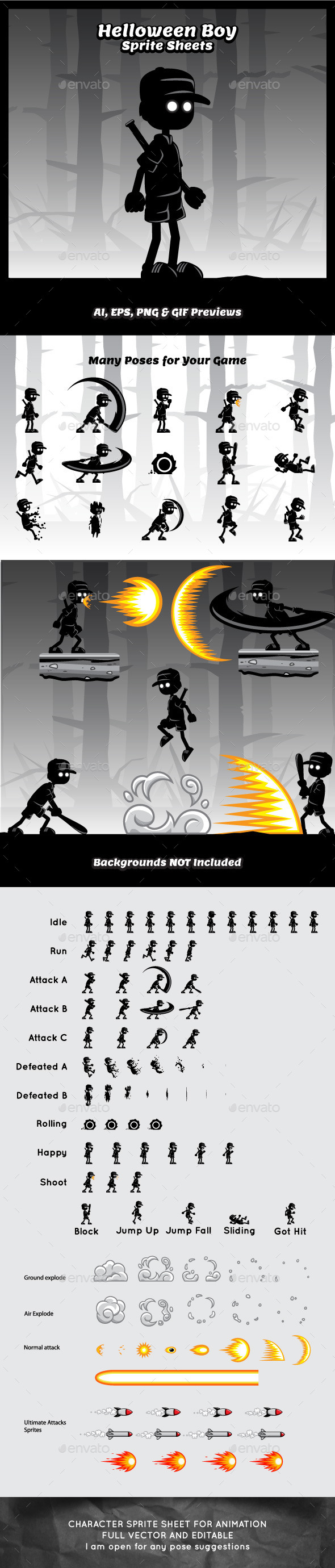 GraphicRiver Helloween Boy Game Character Sprite Sheets 9182856