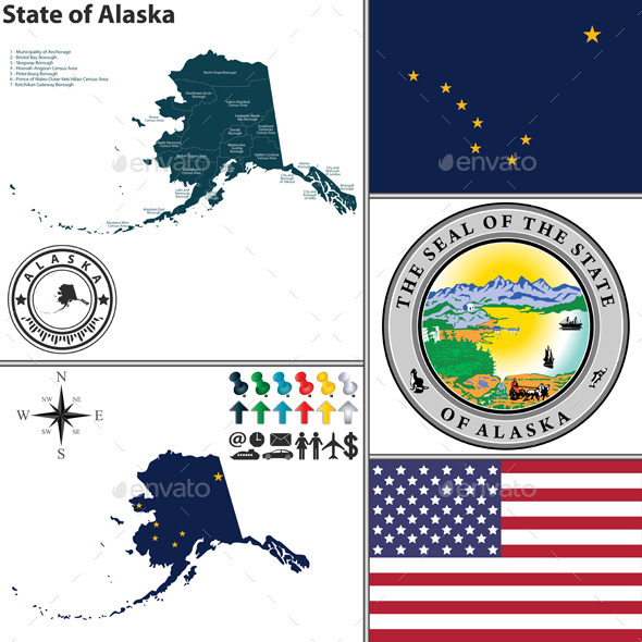 GraphicRiver Map of State Alaska USA 9182870