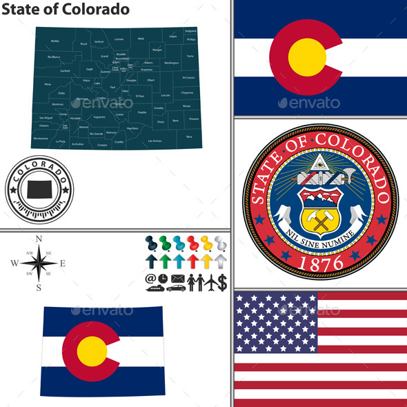 GraphicRiver Map of State Colorado USA 9182876