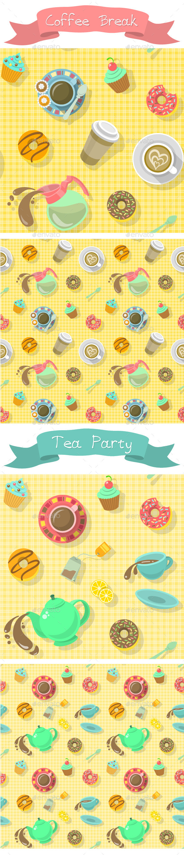 GraphicRiver Coffee Break and Tea Party Patterns 9183704