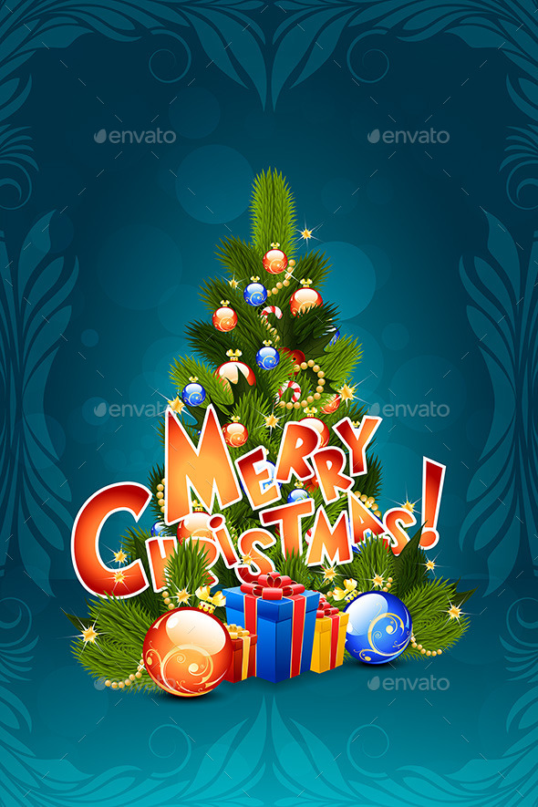 GraphicRiver Christmas Greeting Card Merry Christmas Lettering 9183767