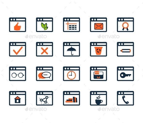 GraphicRiver Icon Set Web Development and SEO Flat Design 9092548