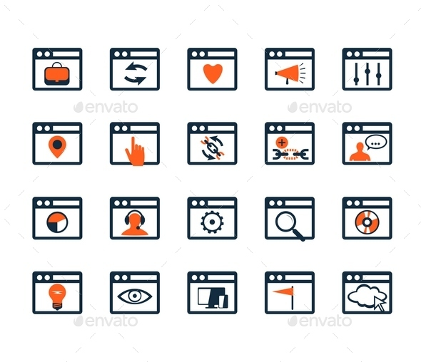 GraphicRiver Icon Set Web Development and SEO Flat Design 9092544