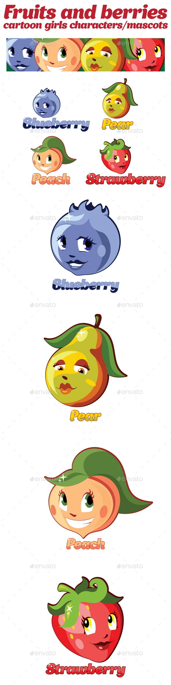 Fruits and Berries Cartoon Characters Mascots