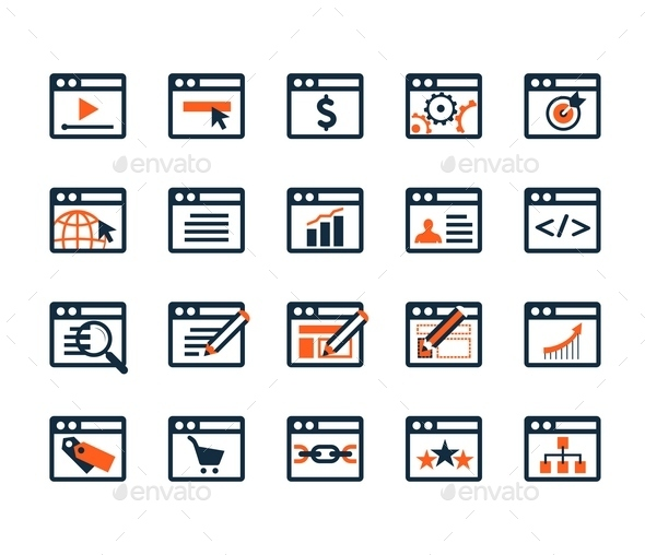 GraphicRiver Icon Set Web Development and SEO Flat Design 9092524