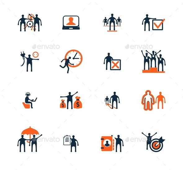 GraphicRiver Business People Icons Management Human Resources 9092513
