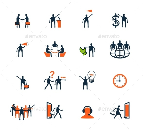 GraphicRiver Business People Icons Management Human Resources 9092406