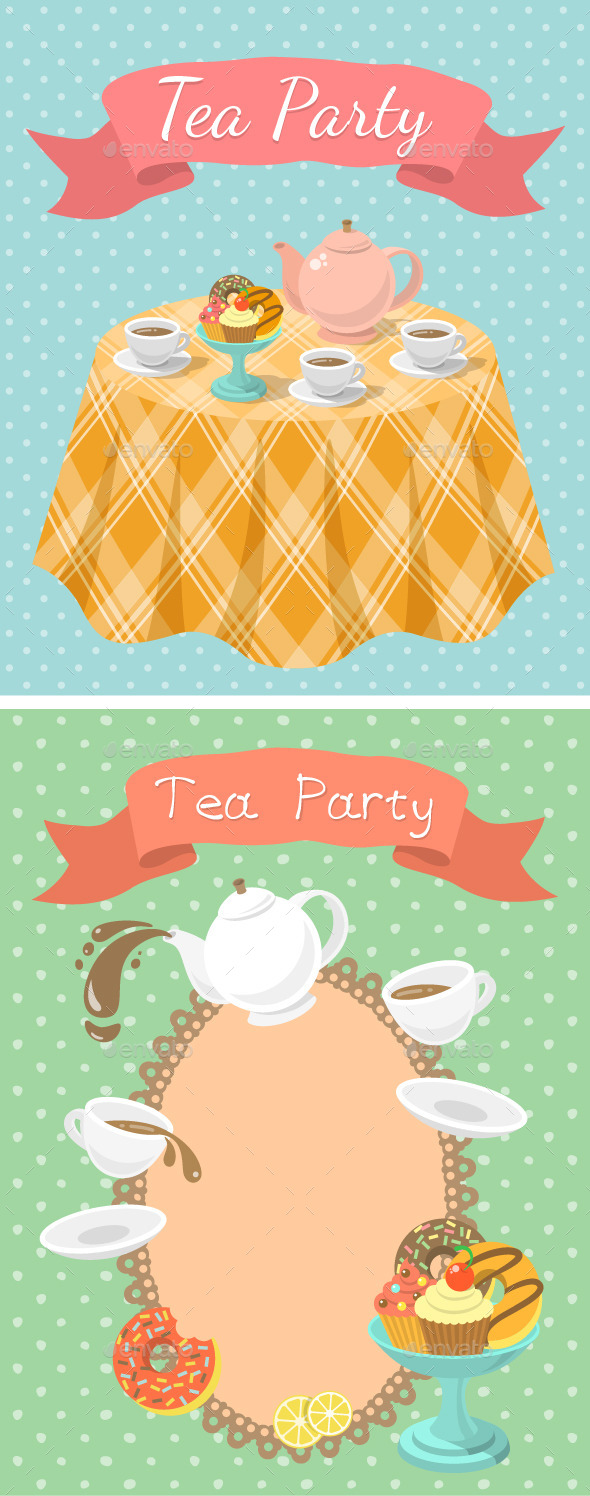 GraphicRiver Tea Party Illustrations 9184214