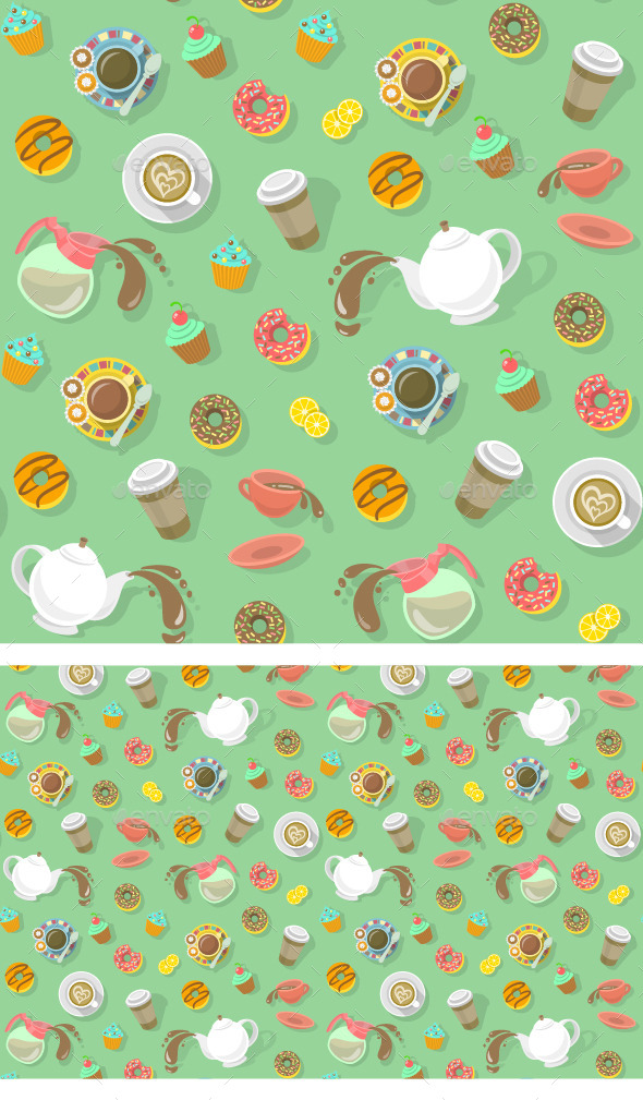 GraphicRiver Coffee and Tea Pattern 9184748