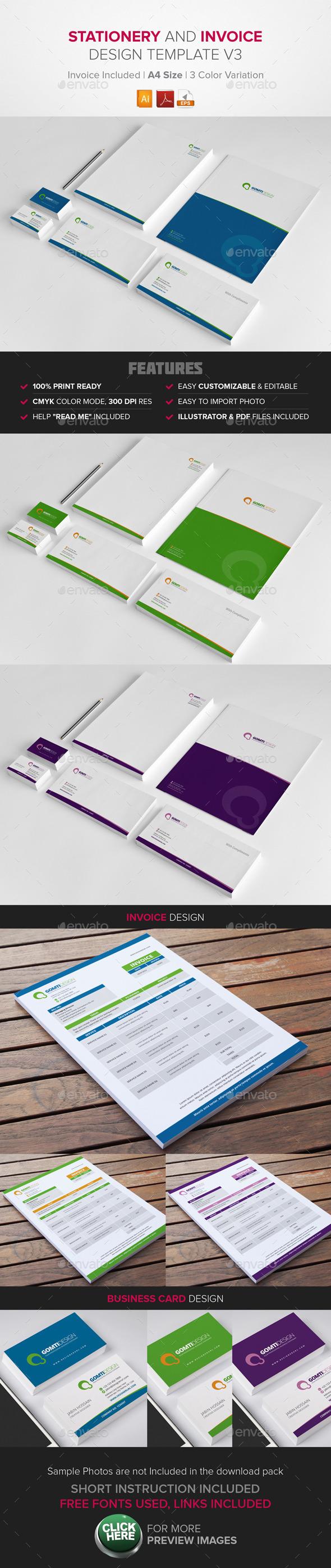 Stationery & Invoice Design Template v3