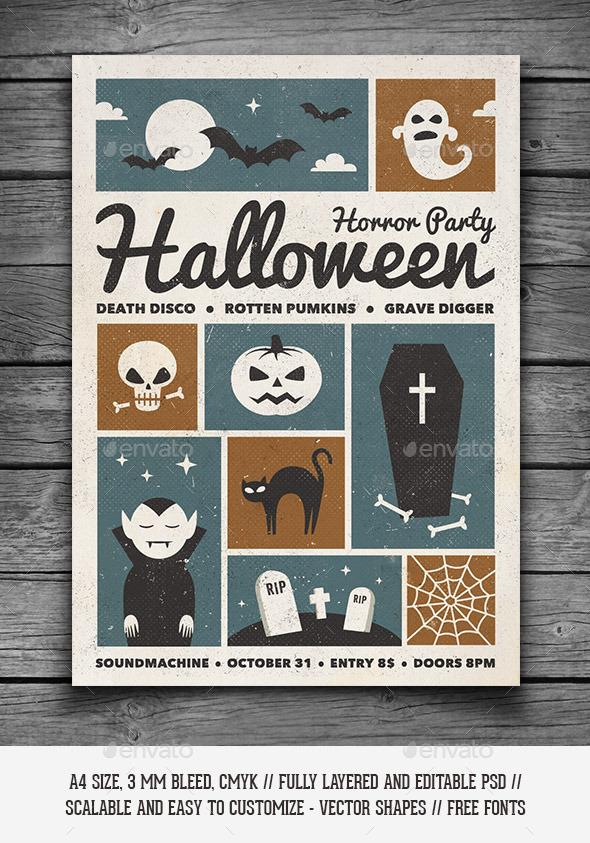 GraphicRiver Retro Halloween Party Flyer 9185623