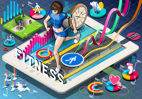 GraphicRiver Isometric Infographic with Jogging Woman on Tablet 9185627