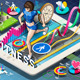 Isometric Infographic with Jogging Woman on Tablet - GraphicRiver Item for Sale
