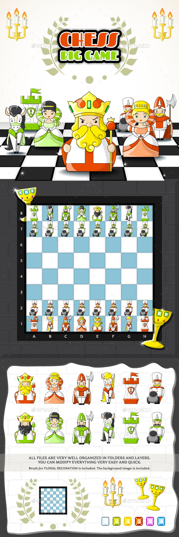 2D Cute Chess Game Kit