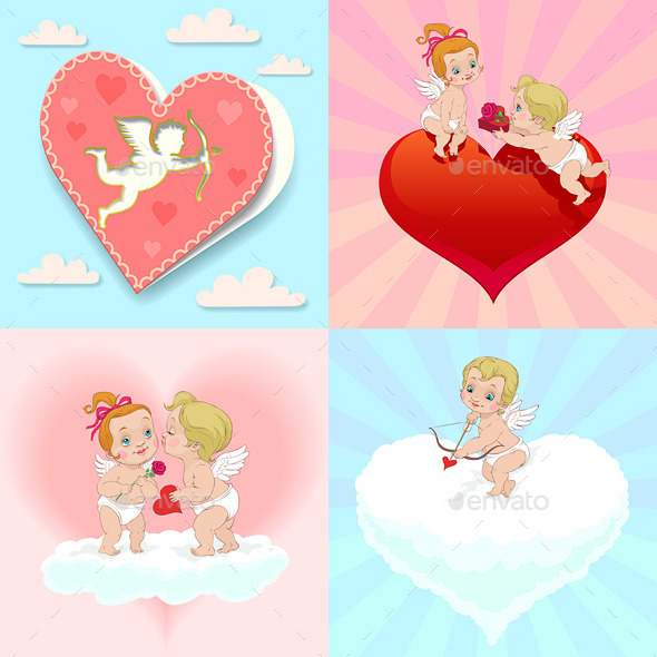 GraphicRiver Set of Valentine s Day Angels and Greeting Card 9186075
