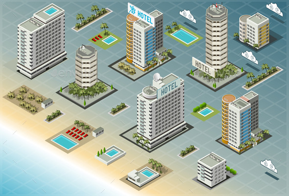 GraphicRiver Isometric Seaside Buildings 9186265