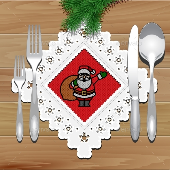 GraphicRiver Christmas Napkin Table 9186268