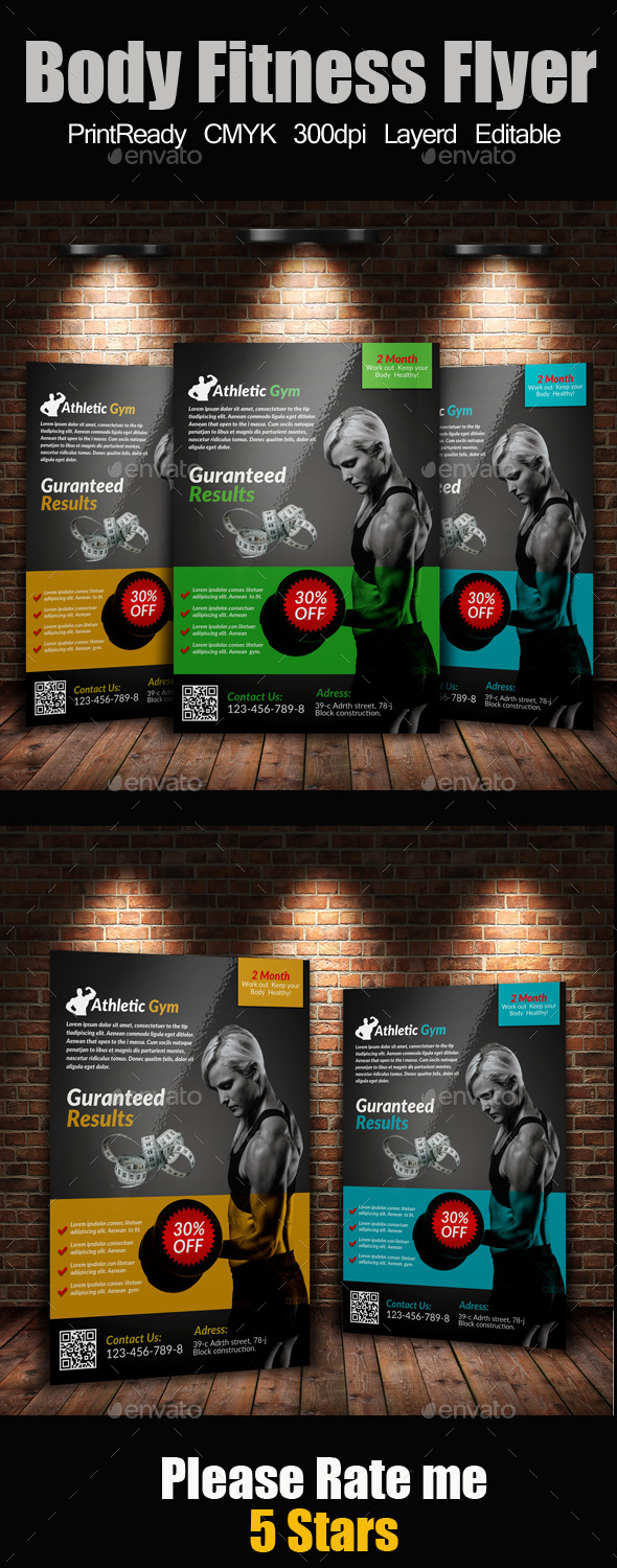 GraphicRiver A4 Body Fitness Flyer 9143237
