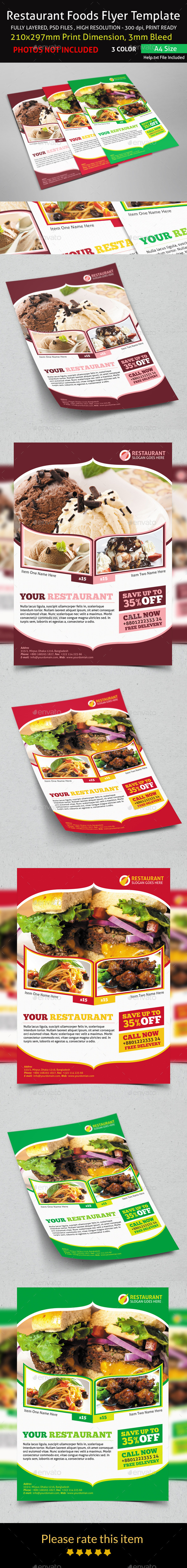 GraphicRiver Restaurant Foods Flyer Template 9186537