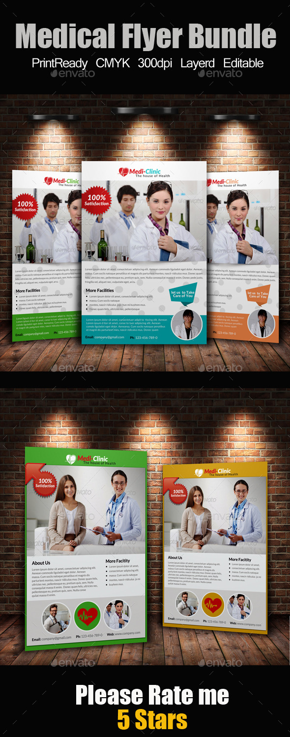 GraphicRiver A4 Medical Flyers Bundle 9145396