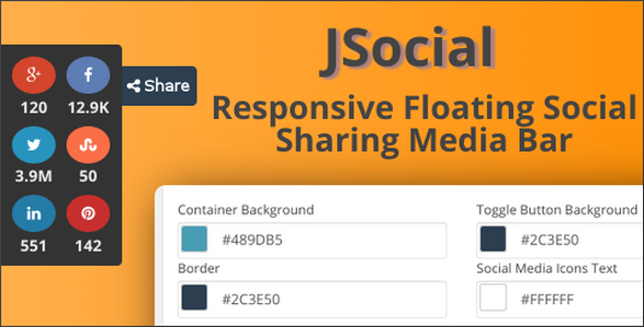JSocial – Responsive Floating Social Sharing Media Bar JSocial is a light-weight WordPress plugin that adds a floating bar to your site to get you maximum