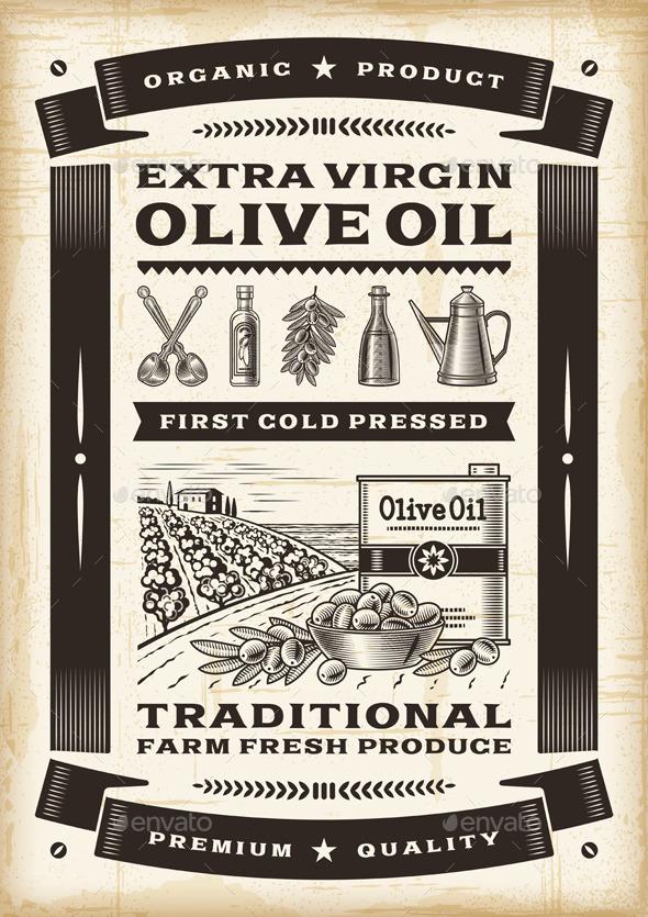 GraphicRiver Vintage Olive Oil Poster 9187695