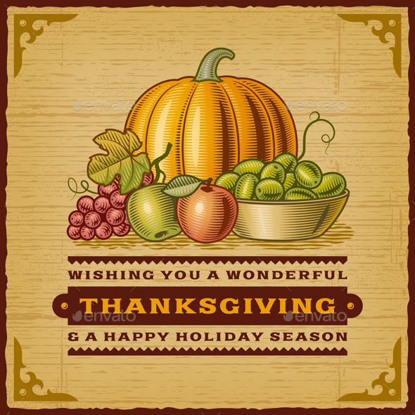GraphicRiver Vintage Thanksgiving Card 9187709