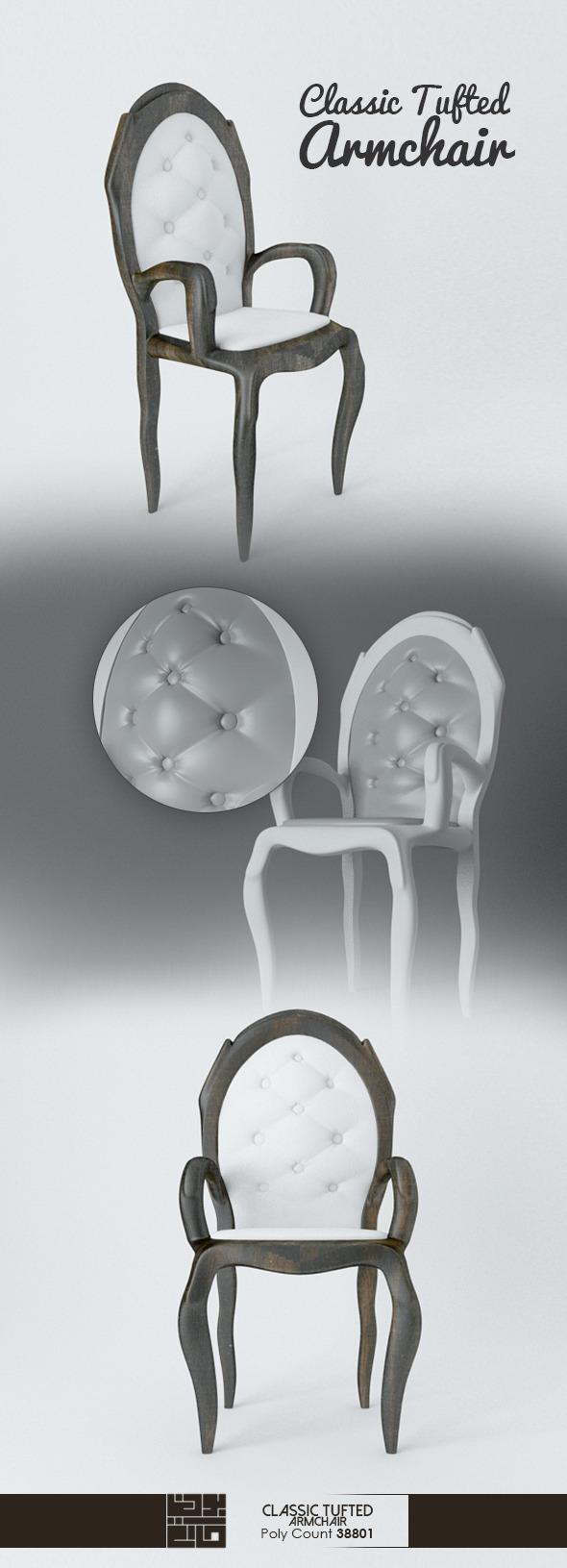 3DOcean Classic Tufted Armchair 9187713