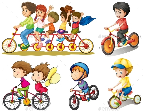 GraphicRiver A Group of People Biking 9188742