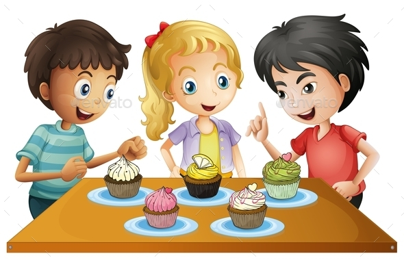 GraphicRiver Three Kids at the Table with Cupcakes 9188788