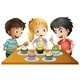 Three Kids at the Table with Cupcakes - GraphicRiver Item for Sale