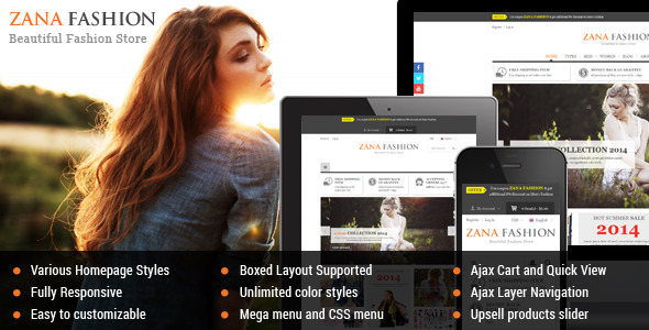 ThemeForest Zana Premium Responsive Magento Fashion Theme 9188881