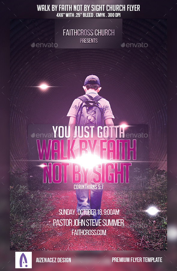 GraphicRiver Walk By Faith Not By Sight Church Flyer 9189019