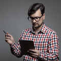 Handsome Hipster Modern Man Using Tablet. - PhotoDune Item for Sale