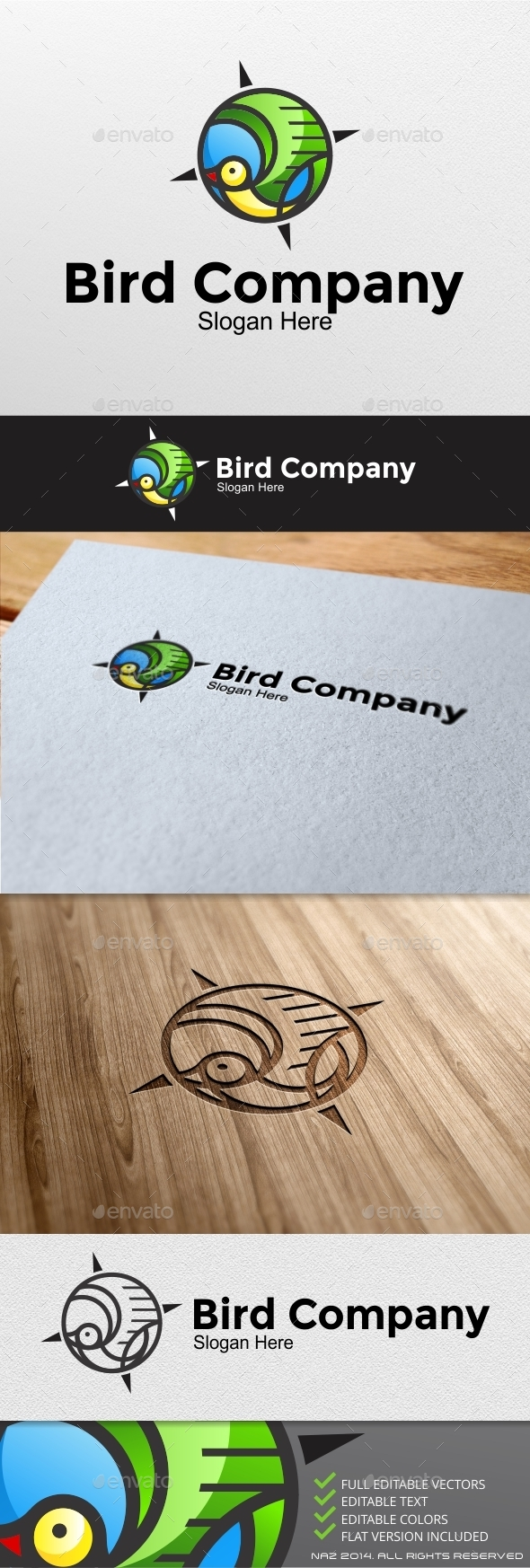 GraphicRiver Bird Compass Logo 9189600