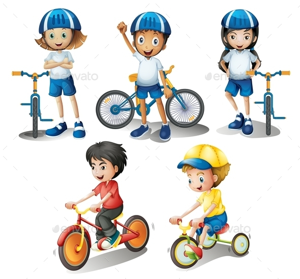GraphicRiver Kids with their Bikes 9189833