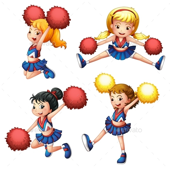 GraphicRiver Four Cheerdancers with their Pompoms 9189837