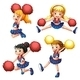 Four Cheerdancers with their Pompoms - GraphicRiver Item for Sale