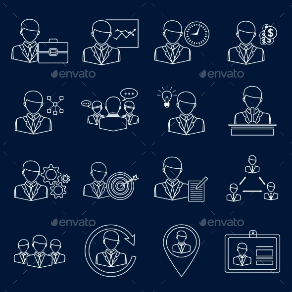 GraphicRiver Business and Management Icons Outline 9190171
