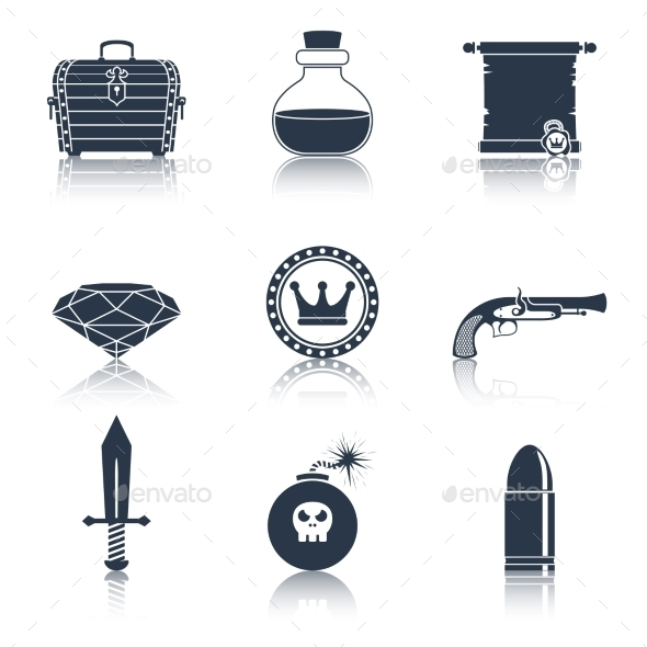 GraphicRiver Game Resources Icons Black 9190172