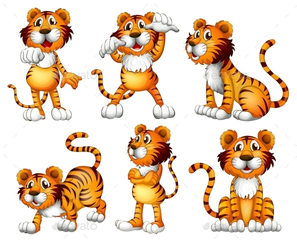 GraphicRiver Six Positions of a Tiger 9190175