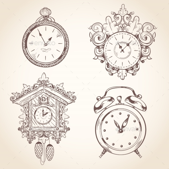 GraphicRiver Old Vintage Clock Set 9190178