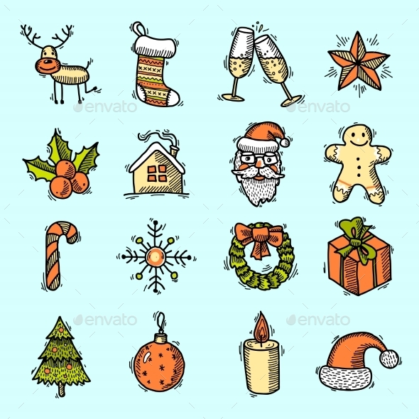 GraphicRiver Christmas Icons Set in Color 9190285