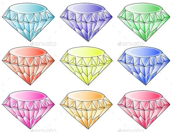 GraphicRiver Different Colors of Diamonds 9190374